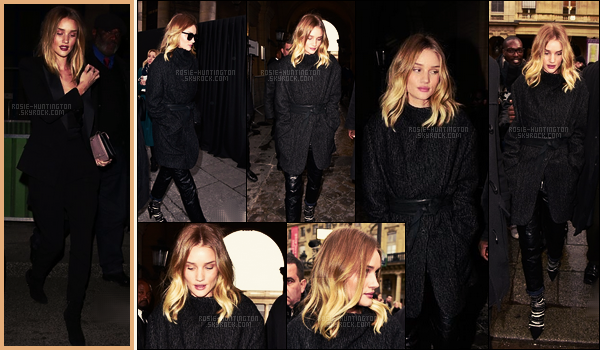 03/03/16 - Dans la soirée, Rosie Huntington a été aperçue sortant du restaurant Dave situé dans Paris. Le lendemain, la belle mannequin a été vue se rendant au défilé de la créatrice Isabel Marrant, toujours dans Paris. Je lui mets un top..