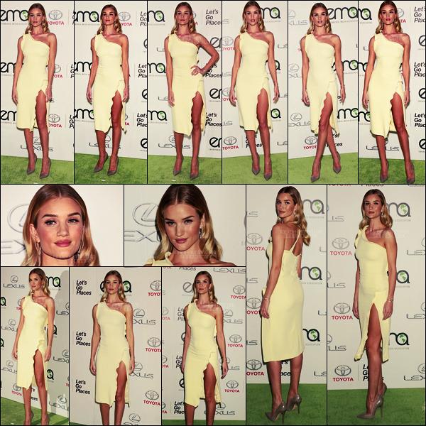24/10/15 - La belle Rosie Huntington a foulé le tapis rouge des EMA Awards 2015  à Milan, en Italie.  Rosie arborait une robe simple d'un jaune clair et des escarpins gris foncés. Je ne suis pas totalement convaincue par la mise en beauté..