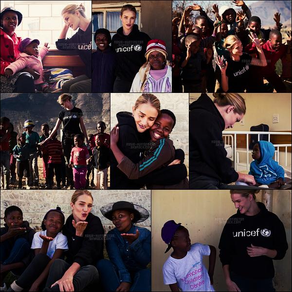••  La mannequin Rosie Huntington à Lesotho, Afrique australe, avec l'organisation UNICEF.   Le 17 juillet dernier, Rosie s'est envolée d'Angleterre, par l'aéroport international Heatrow, destination le continent africain, c'est via Instagram qu'elle nous a informé de son arrivée. Cette fois, ce n'est pas un voyage d'affaire, la belle blonde est partie à la rencontre d'enfants et de familles touchés par la crise alimentaire et d'eau potable. Une façon d'utiliser sa notoriété pour rendre compte des problèmes que rencontre certaines populations encore aujourd'hui. Son témoignage ici