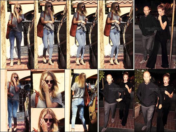 28/07/16 - La jolie Rosie Huntington a été repérée quittant la maison d'un ami situé à Los Angeles, CA.  Dans la soirée, la belle a été aperçue en compagnie de son fiancé, se rendant au restaurant Madéo dans le quartier de West Hollywood..
