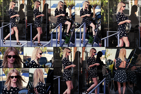 03/08/16 - Rosie Huntington a été vue arrivant et quittant son bureau situé dans - West Hollywood. J'aime beaucoup sa petite robe, c'est mon coup de coeur de ses tenues précédemment portées récemment. Top les sandales également