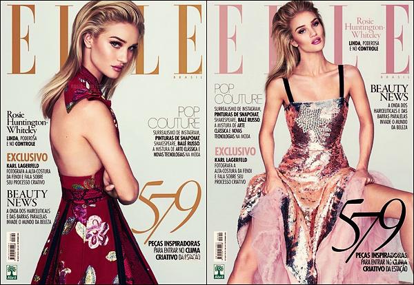 COVER •• Rosie Huntington pour le magazine de mode Elle Brésil, issue Septembre 2016 !