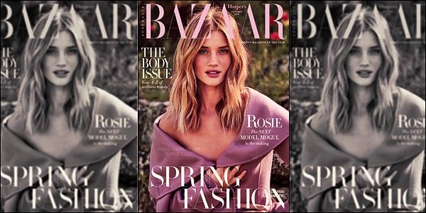 COVER •• Rosie Huntington fait la couverture d'Harper's Bazaar Australia pour Octobre !