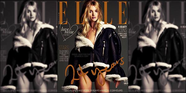 COVER •• Rosie Huntington fait la couverture d'ELLE en Corée pour Novembre 2016 !