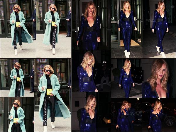 09/02/18 -  Notre Rosie Huntington  a été photographiée quittant son luxurieux hôtel situé à - New York. Le soir, elle le quittait de nouveau pour se rendre à la soirée Dundas, surement sous le thème disco. J'aime vraiment cette tenue, top