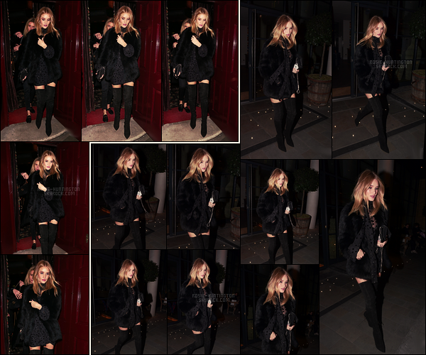 14/03/18 -  Rosie Huntington quittant son hôtel pour se rendre à Loulou pour le dîner dans Londres, UK. Rosie était avec des amis. Joli coup de coeur pour cette tenue, Rosie est sublime, on dirait une poupée de porcelaine ! Et pour vous ?
