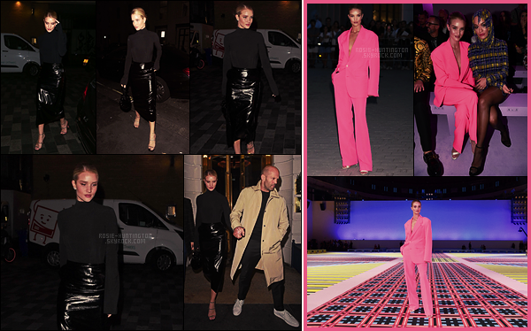 19/09/18 - Rosie Huntington a été diner dans un restaurant avec son fiancé dans les rues de Londres, UK. Le 21/09, Rosie est passée à la Fashion Week de Milan en allant au défilé de la maison Versace, toute de rose vêtue. Plutôt Top/Flop?