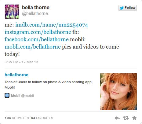 Le dernier tweet de Bella Thorne