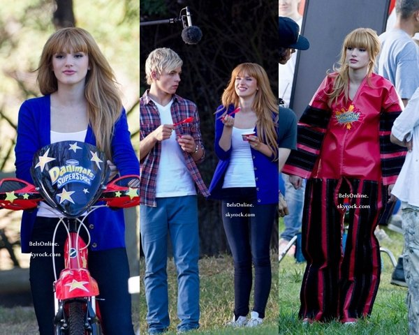 Bella Thorne et Ross Lynch sur le tournage de Danimals le 19 Octobre 2013