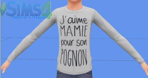 """Pull enfant """"J'aime mamie pour son pognon"""""""