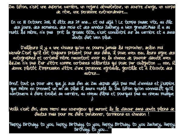 - - ★.•°•.• Anniversaire Zac Efron •.•°•.★ - -