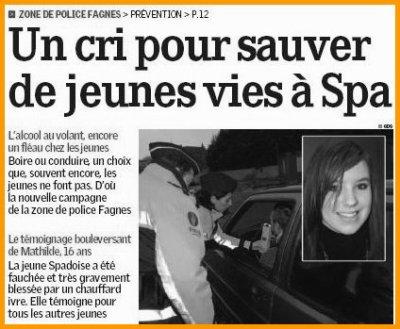 """Amputée à 15 ans: Article publié dans le journal """"LA MEUSE"""" 2 avril 2009"""