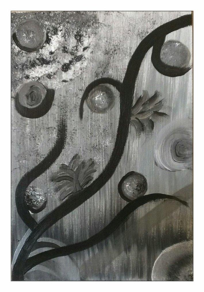 Peinture noir argent blanc
