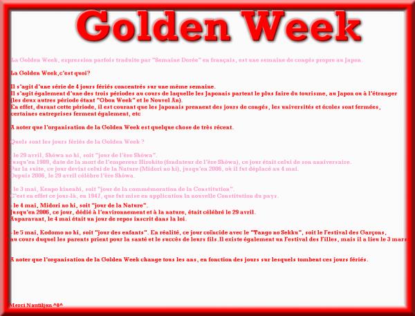 ♥  Golden Week  ♥   Clique sur l'image si tu ne vois pas ce qui est écrit ^0^ Prochain article sur la corée