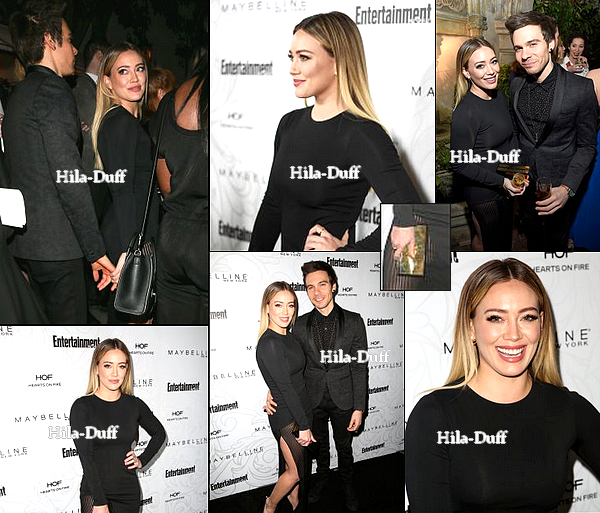 28 Janvier|  Hilary s'est rendue acvec son nouveau petit ami (Matthew Koma) à la soirée Entertainment Weekly Celebration of SAG Award Nominees au Chateau Marmont à Los Angeles.