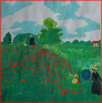 Champ De Coquelicots D'après Claude Monet