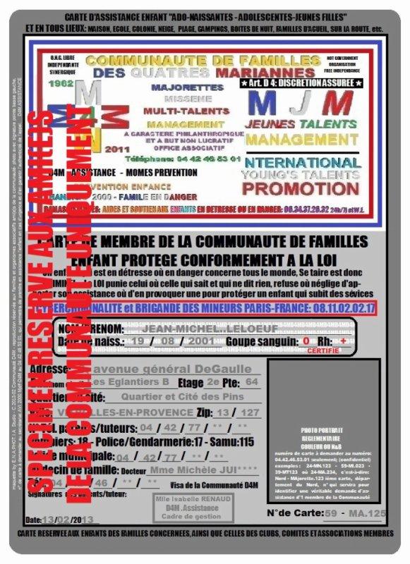 CARTE D'ASSISTANCE DE LA COMMUNNAUTE, RESERVEE AUX ENFANTS
