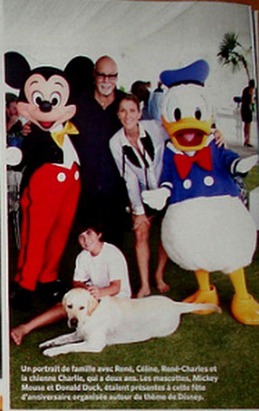Celine , Rene , Rene-Charles  Celine Mickey & Donald