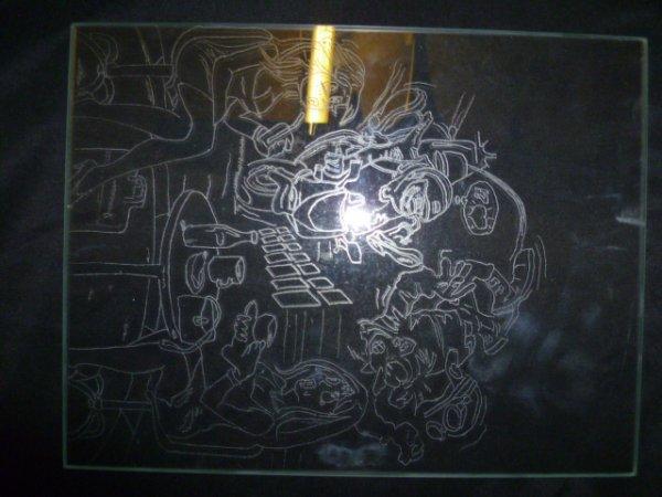 3 Gravures sur verre