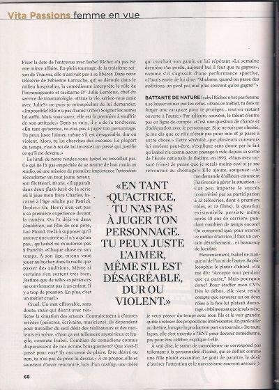 Un Article sur Isabelle Richer (Julie Lemieux)
