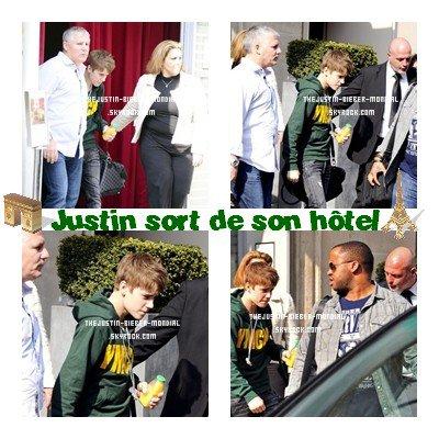 Justin sort de son hôtel
