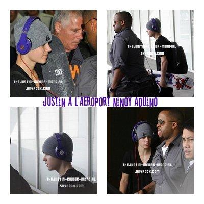Justin arrive à l'aéroport Ninoy Aquino