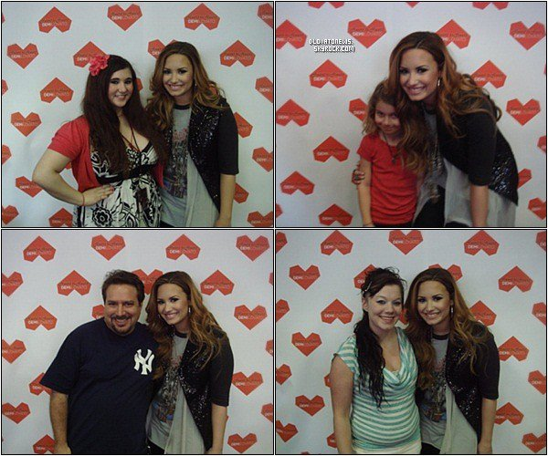 "Le 7 Avril, Demi était à l'évènement ""Heart To Heart"" organisé à Los Angeles par la radio MyFM en partenariat avec Hollywood Records. Elle a rencontré ses fans et performé ""Fix a heart"", ""Catch me/Don't forget"", ""Skyscraper"", ""Give your heart a break"", ""How to love"" et ""My love is like a star""."