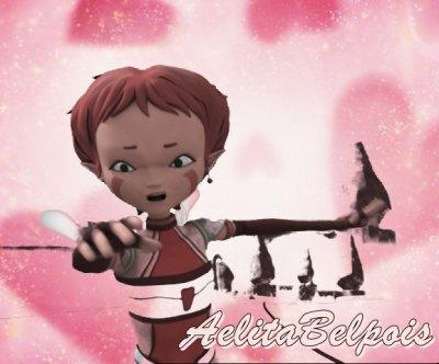 Aelita sur une wallpaper rose :P ♥