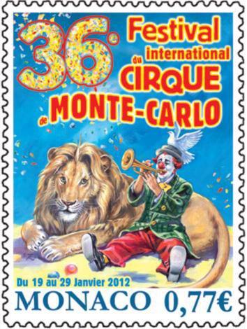 Timbre du 36 ème Festival du CIRQUE de MONACO ( 2012 )