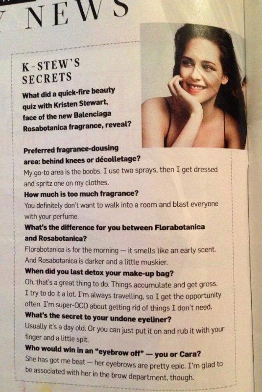 Courte Nouvelle Interview - Kristen parle beauté dans le supplément du Times, Style