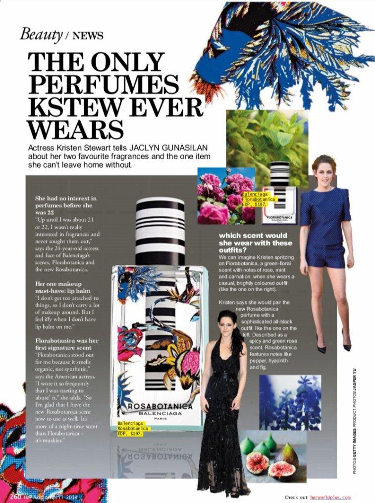 Nouvelles citations de Kristen dans le magazine Her World (Singapour - Numéro d'avril 2014)