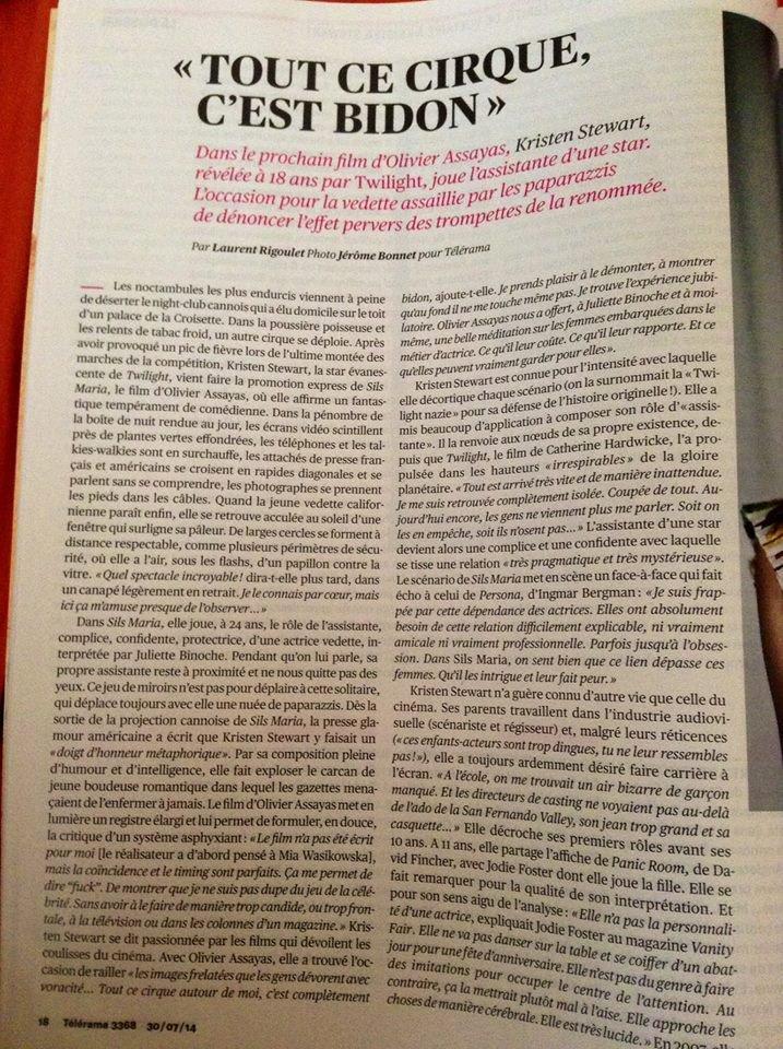 Kristen Stewart en couverture de Telerama (France)