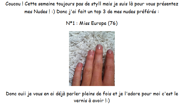 Top 3 de mes vernis Nude + Ma BB Cream ! :)
