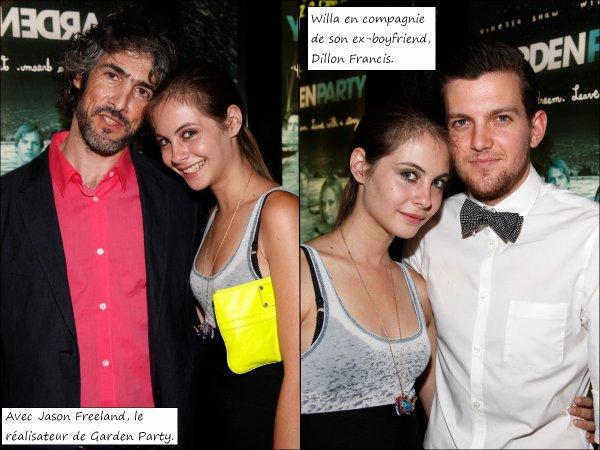 flash back: Willa Holland était présente le 15 juillet 2008  à l'avant première de son film GARDEN PARTY. Elle n'y est allée pas allée seule puisque son boyfriend de l'époque, Dillon Francis était lui aussi à ses côtés.Elle est très joyeuse, porte une tenue top et semble passer un bon moment!