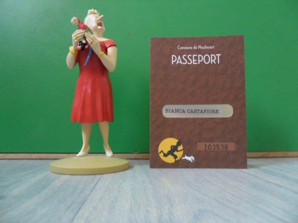 Figurine Tintin officielle la Castafiore au perroquet avec son passeport d'authenticité et son livret