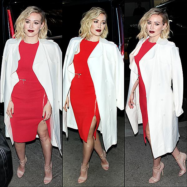 """Le 13 janvier : Hilary allait promouvoir avec ses collègues la nouvelle saison de """"Younger"""" chez AOL BUILD, New York."""