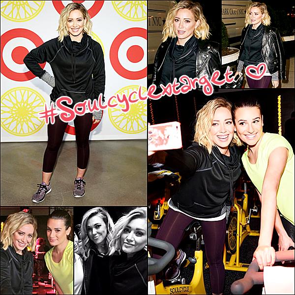 Le 14 janvier : Hilary participait à l'événement Soulcycle en compagnie de Lea Michele et Rachel Platten.