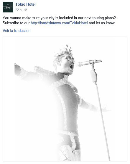 Info Facebook Tokio Hotel - 24.02.2016