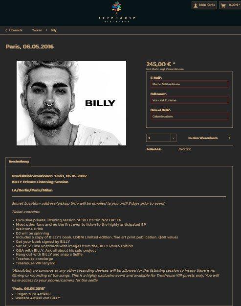 Billy Tour - Session d'écoute privée - Paris 06.05.2016 - Informations