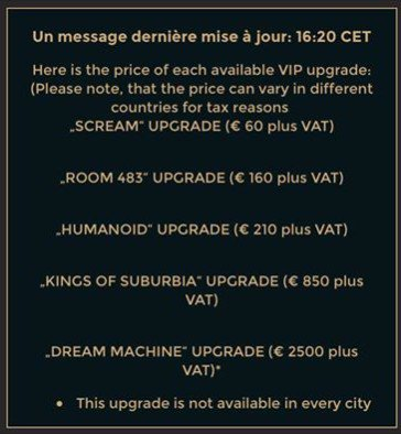 Dream Machine Tour 2017 - Prix des packs