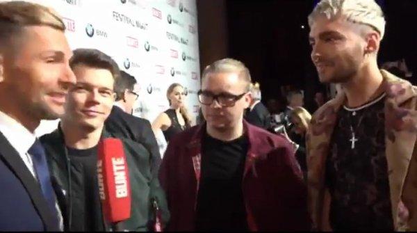 BUNTE.de – Live à la Berlinale, Interview avec Tokio Hotel [vidéo de 1:02:44 à 1:04:50]