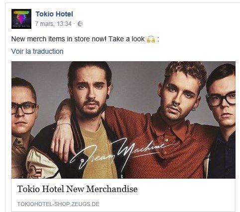 Info Facebook Tokio Hotel - 07.03.2017