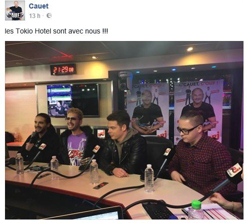 Tokio Hotel sur NRJ avec Cauet - 20.03.2017