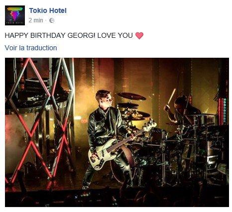 Facebook Tokio Hotel - 31.03.2017