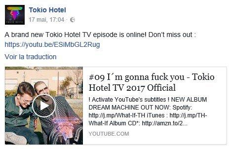 Info Facebook Tokio Hotel - 17.05.2017