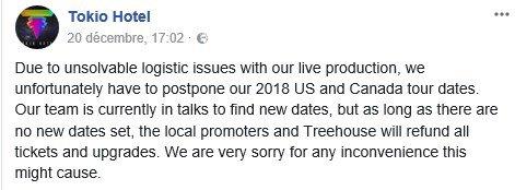Info Facebook Tokio Hotel - 20.12.2017