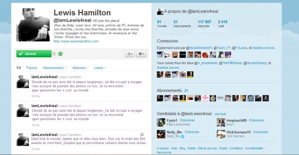 Le twitter de Lewis en FRANCAIS