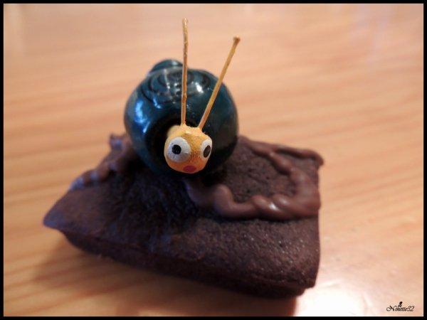 un escargot sur un brownie....