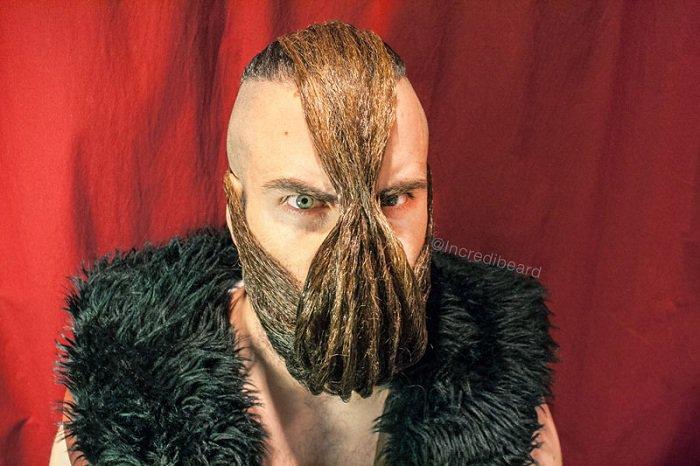 Isaiya Uebb utilise sa barbe pour créer des coiffures.