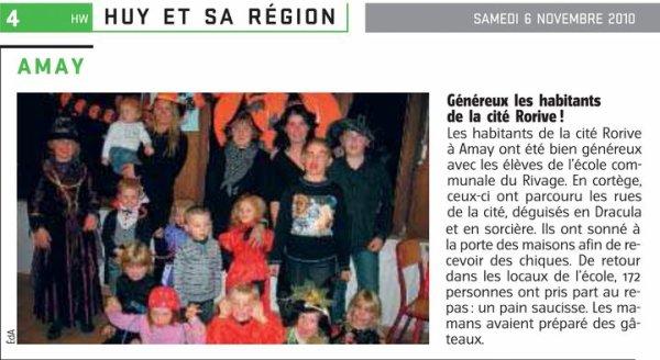 """halloooooweeeen2010 une supèrbe première pour l'école communale du """" Rivage """" à Amay"""